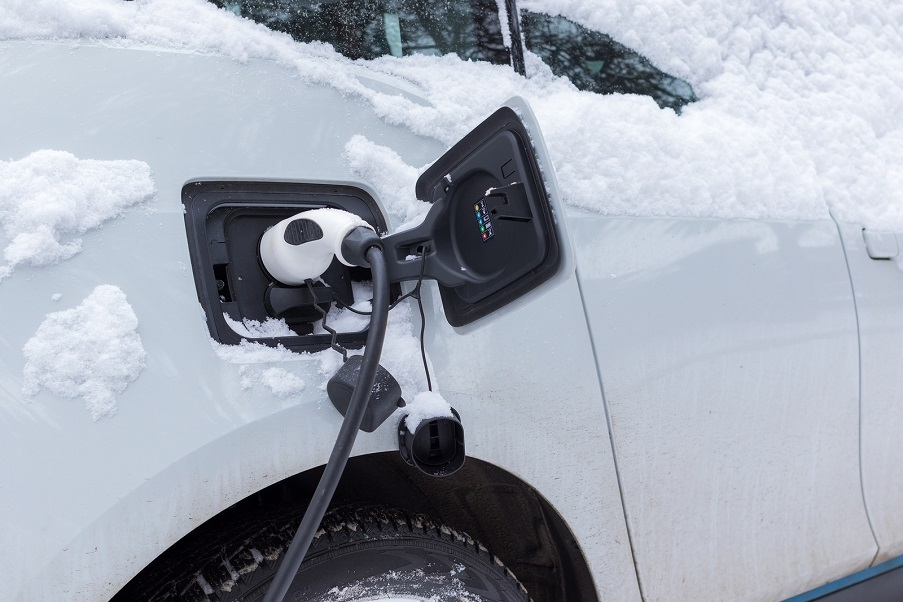 EV charging in winter time.