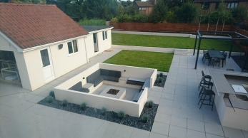 A landscaping job we completed last summer which used porcelain paving slabs
