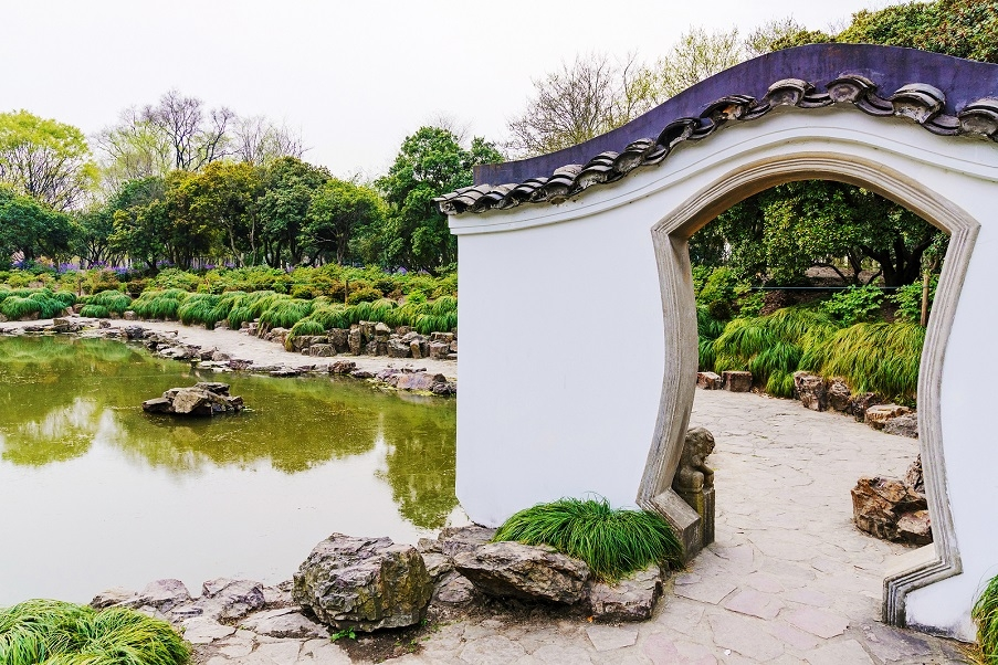 A traditional Chinese garden.