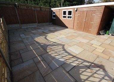 Sandstone Patio and Decorative Fencing in Burgh Castle