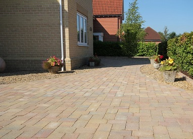 Brickweave Driveway and Sandstone Patio in Mulbarton
